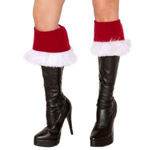 Santa Boot Cuffs Toppers Velvet Faux Fur Trim